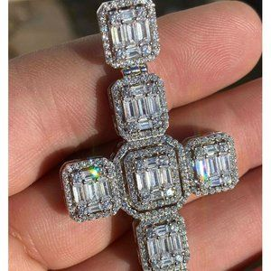 Harlembling Men 925 Silver Diamond Cross Necklace